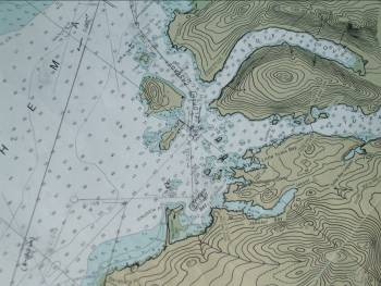 Nautical chart of the geographical area the Rainier is surveying at this time.