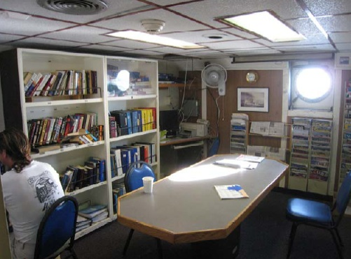 The Library - Pictured here is the ship's library where crew members can read and check e-mail.