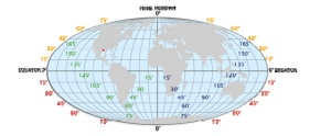 Map of the world showing longitude and latitude lines