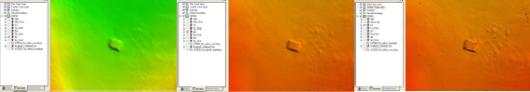 Underwater feature identified as a shipwreck by Rainier hydrographers in Elliot Bay, WA.  (l-r: 4m resolution; 2m resolution; 1m resolution)  Courtesy: ENS Shultz