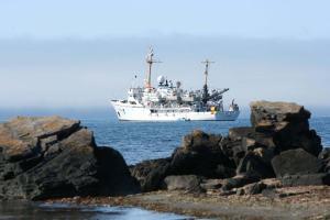 NOAA Ship Rainier from the shore of Wosnesenski Island