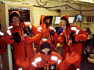 The science team and Teacher at Sea, Clare Wagstaff (right) in their survival suits