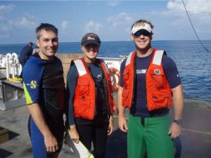 Mike Henley, Kathy Morrow and Dr. Joshua Voss, the survey team aboard NF4.