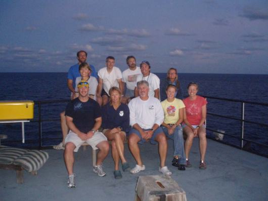 The 2009 coral research team and Teacher At Sea, Clare Wagstaff on board the Nancy