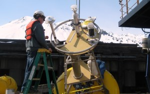 Scott at work on an ADCP buoy.