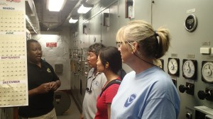 Chief Engineer Harry Crane, Chief Scientist Don Kobayashi, Jessica Chen, and me touring the engineering department of the ship