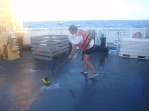 Here I am on the fantail of the deck scrubbing the mackrel blood after setting 180 traps.