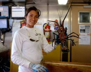 Here I am holding up a spiny lobster.