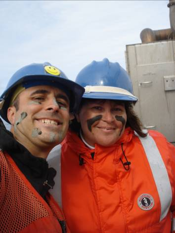 """Hydrographer in Charge, Ian Colvert, and me with my """"initiation"""" mud mask!"""