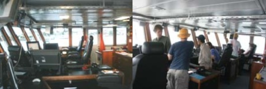 Left: The bridge of the ship; Right: Crewmembers on the bridge discussing the cruise operational procedures