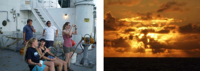 Folks on the ship take in the beautiful Hawaiian sunset…