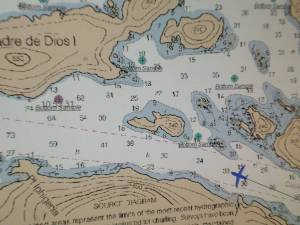 A nautical chart indicating underwater cables