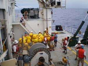 The crew readying the glass balls for deployment