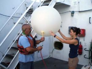 Preparing the weather balloon for launch