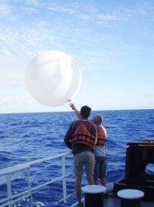 Here I am launching a weather balloon! Donning my survival suit