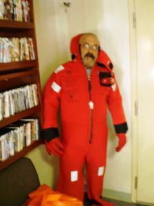 Donning my survival suit