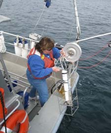 The instrument is then lowered to the bottom and retrieved using the winch.