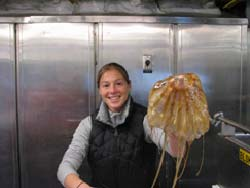 One of several jellyfish brought up in the nets. This guy is slimy and heavy, but not a stinger