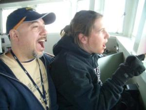 Roy and Tamara get excited about birding on the bridge of the OSCAR DYSON