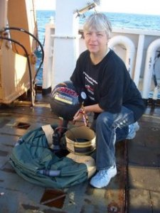Becky proudly displays her drifter buoy before its deployment!