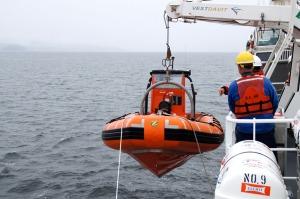 Deploying the emergency boat.