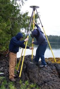 Researchers are kneeling in a sitka spruce forest as they check the computer that is collects and records tidal data on a small island in Nossuk Bay, Alaska.