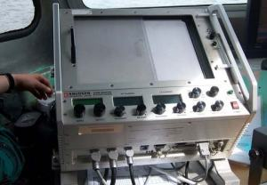 This is the Echosounder machine that records the data from the single beam transducer.