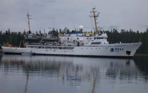 The NOAA ship RAINIER, also known as S221, at anchor in Alaska.