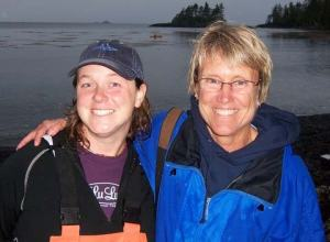 Erin Campbell, physical scientist, and Beth Carter, Teacher at Sea…two Tarheels at a rainy beach party near Bushtop Island, Alaska.