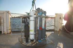 This machine is called a CTD and measures conductivity, temperature, and depth
