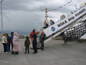 Visitors began the tour by walking up the ship's gangway.