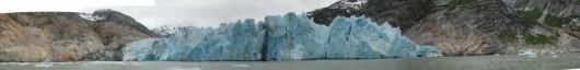 Dave Withrow, Chief Scientist aboard the JOHN N. COBB, took several photos of Dawes Glacier and stitched them together to create this panoramic view.  Photos such as these, along with GPS coordinates, can help scientists monitor changes in the glacier over time.