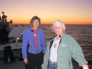 Jacquie Ostrom and Marilyn on the bow
