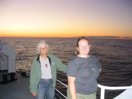 Marilyn and Debbie Duarte on the bow