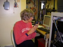 Jacquie Ostrom at her post radioing the fishermen when to start the CTD