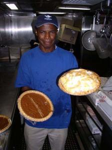 The Galley staff serves dessert -sweet potato pie!