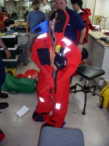 Abandon ship drill - Fitting survival suits