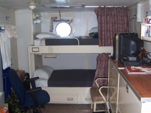 Chuck's stateroom aboard the NOAA Ship THOMAS JEFFERSON.  During his voyage, Chuck (bottom bunk) shared his stateroom with Ensign Andrew Ostapenko (top bunk).
