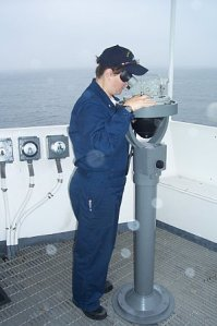 Ensign Megan Guberski assists in prepping the ship to get underway