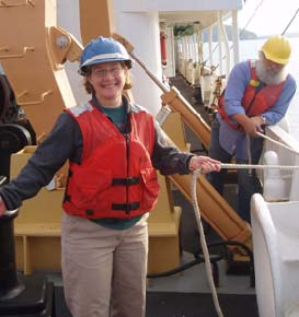 NOAA Teacher at Sea, Lisa Hjelm, learns the ropes