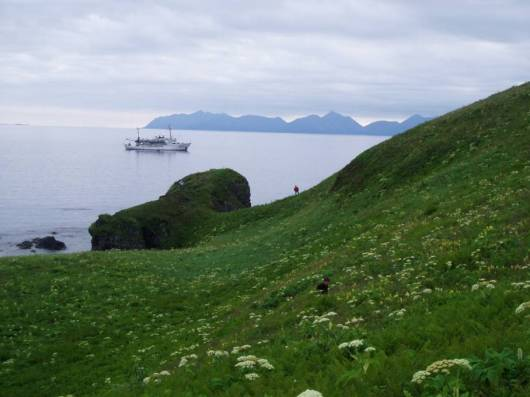 NOAA Ship Rainier from Inner Iliasik Island