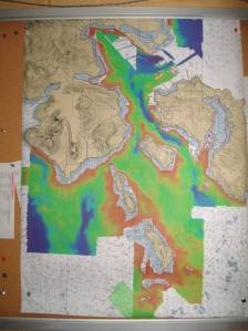 A preliminary bathymetry chart posted in the Mess.