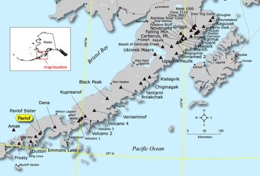 Pavlov Island volcano on the Alaska peninsula