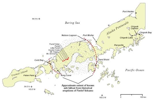 Approximate area of the current survey with nearby volcanoes indicated.