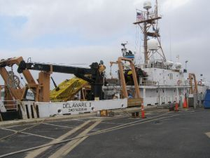 NOAA Ship DELAWARE II at its port in Woods Hole, MA