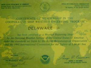 DELAWARE II's Cooperative Ship Weather Observing Program Certificate