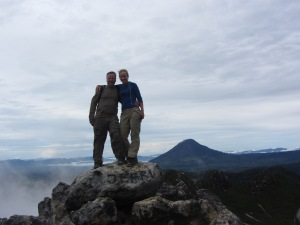 My friend Harold and I on top of a volcano in Sumatra, Indonesia.