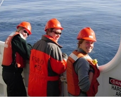 Left to Right: Beth Lancaster, Rachel Fontana (Grad Student, UC Davis), and Caymin Ackerman (Lab Assistant, PRBO) enjoy the sun and calm waters while waiting for a sample to return off the McARTHUR II.