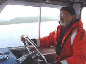Yours truly trying his hand at driving the boat
