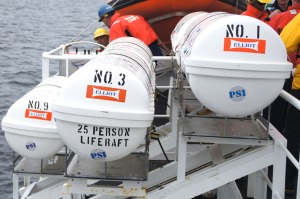 Life rafts will automatically inflate in the event of an emergency